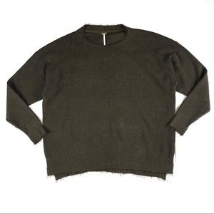 Free People Olive Green Large Knit Sweater